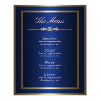 Prospectus 11,4 Cm X 14,2 Cm Carte de menu de bleu et d'or