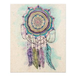 Prospectus 11,4 Cm X 14,2 Cm conception tribale de mandala de dreamcatcher de