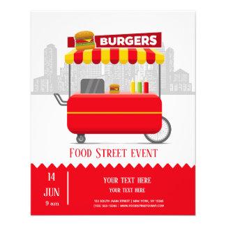 Prospectus 11,4 Cm X 14,2 Cm Hamburgers d'hamburgers de rue de nourriture
