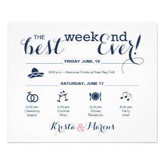Prospectus 11,4 Cm X 14,2 Cm Itinéraire de week-end de mariage