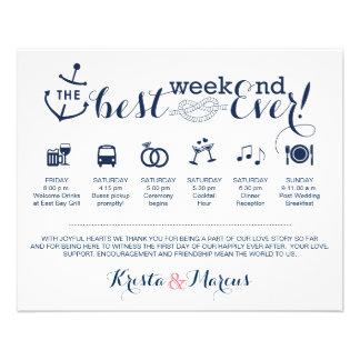 Prospectus 11,4 Cm X 14,2 Cm Itinéraire nautique de week-end de mariage