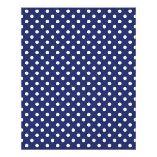 Prospectus 11,4 Cm X 14,2 Cm Motif de pois de bleu marine et de blanc