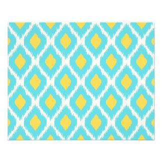 Prospectus 11,4 Cm X 14,2 Cm Motif tribal aztèque jaune bleu à la mode d'Ikat