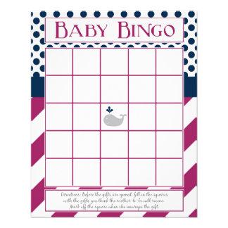 Prospectus 11,4 Cm X 14,2 Cm Pourpre et bingo-test de baby shower de baleine de