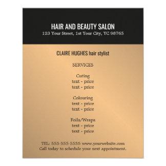 Prospectus 11,4 Cm X 14,2 Cm Salon de beauté foncé élégant de noir d'or de Faux