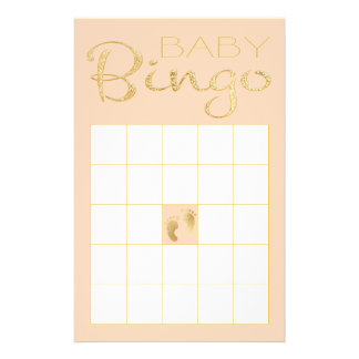 "Prospectus 14 Cm X 21,6 Cm BINGO-TEST rose ""or de baby shower/classique de"