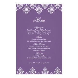 Prospectus 14 Cm X 21,6 Cm Carte blanche pourpre de menu de mariage
