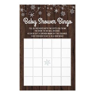 Prospectus 14 Cm X 21,6 Cm Carte rustique de bingo-test de bébé de flocon de