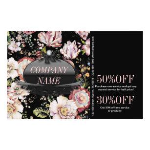 Prospectus 14 Cm X 21,6 Cm Floral noir de Bohème élégant vintage moderne