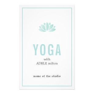 Prospectus 14 Cm X 21,6 Cm Instructeur bleu minimal de yoga d'icône de Lotus