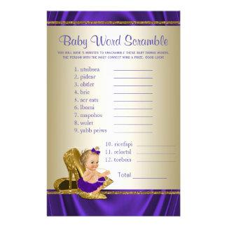 Prospectus 14 Cm X 21,6 Cm Jeux de baby shower de fille de pourpre et d'or