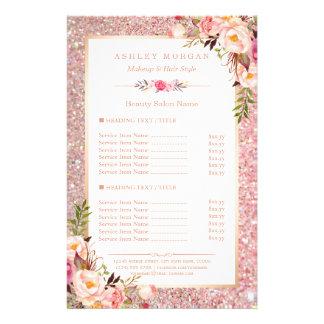 Prospectus 14 Cm X 21,6 Cm Menu floral de salon de beauté de scintillement