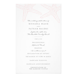 Prospectus 14 Cm X 21,6 Cm Programmes de mariage d'étoiles de mer