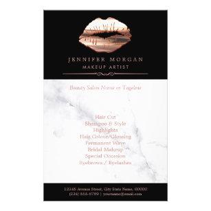Prospectus 14 Cm X 21,6 Cm Salon de beauté de marbre de lèvres roses modern