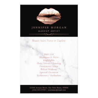 Prospectus 14 Cm X 21,6 Cm Salon de beauté de marbre de lèvres roses modernes