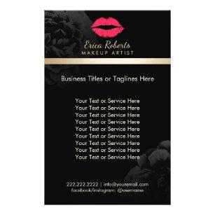 Prospectus 14 Cm X 21,6 Cm Salon de beauté floral de noir rouge de lèvres d