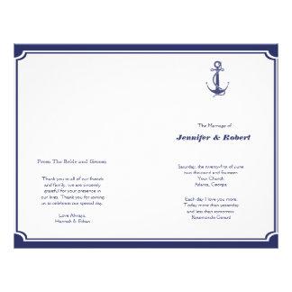Prospectus 21,6 Cm X 24,94 Cm Ancre nautique sur le programme de mariage de