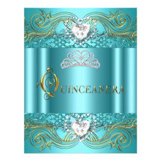 Prospectus 21,6 Cm X 24,94 Cm Anniversaire argenté bleu turquoise de Quinceanera