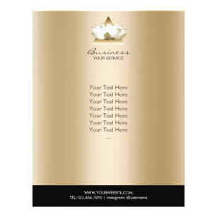 Prospectus 21,6 Cm X 24,94 Cm Brochure moderne de spa d'or de logo de Lotus de