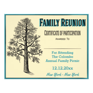 Prospectus 21,6 Cm X 24,94 Cm Certificat de la Réunion de famille - arbre