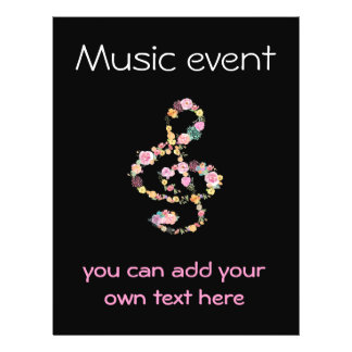 Prospectus 21,6 Cm X 24,94 Cm clef florale d'événement de musique