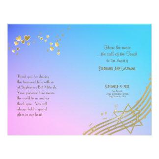 Prospectus 21,6 Cm X 24,94 Cm Couverture de programme de bat mitzvah de chanson