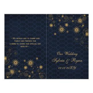 Prospectus 21,6 Cm X 24,94 Cm flocons de neige bleus d'or épousant des