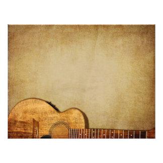 Prospectus 21,6 Cm X 24,94 Cm Grunge de guitare horizontale
