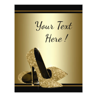 Prospectus 21,6 Cm X 24,94 Cm Insecte noir de chaussure de talon haut d'or