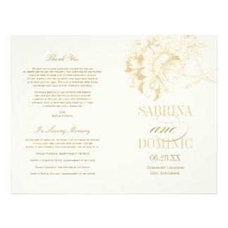 Prospectus 21,6 Cm X 24,94 Cm Le mariage programme la pivoine d'or de   florale