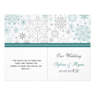 Prospectus 21,6 Cm X 24,94 Cm Mariage blanc turquoise d'hiver de flocons de