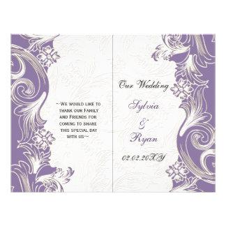 Prospectus 21,6 Cm X 24,94 Cm Mariage floral pourpre et blanc de ressort