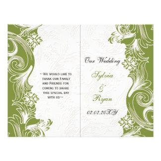 Prospectus 21,6 Cm X 24,94 Cm Mariage floral vert et blanc de ressort