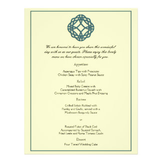 Prospectus 21,6 Cm X 24,94 Cm Menu celtique turquoise de mariage de noeud