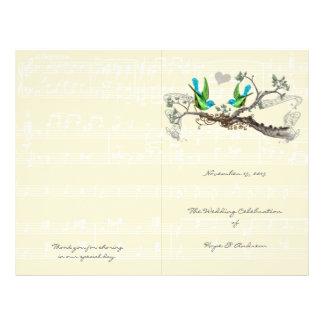 Prospectus 21,6 Cm X 24,94 Cm Oiseaux vintages bleus et programme vert de