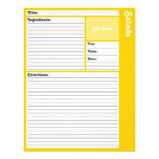 Prospectus 21,6 Cm X 24,94 Cm Pages rayées de recette (jaune)