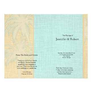 Prospectus 21,6 Cm X 24,94 Cm Palmiers de toile et bleus crèmes épousant le