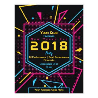 Prospectus 21,6 Cm X 24,94 Cm Partie au néon de style de nouvelle année