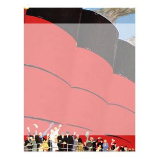 Prospectus 21,6 Cm X 24,94 Cm Passagers vintages de bateau de croisière ondulant