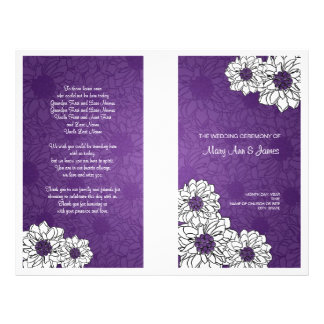 Prospectus 21,6 Cm X 24,94 Cm Pourpre floral de mariage de dahlia élégant de