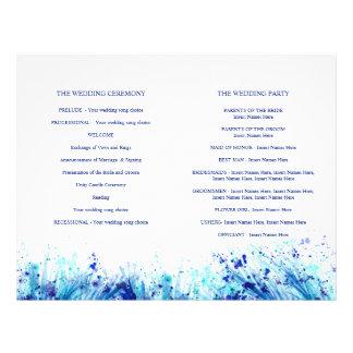 Prospectus 21,6 Cm X 24,94 Cm Programme bleu de mariage de guirlande d'art