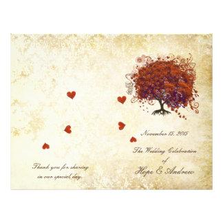 Prospectus 21,6 Cm X 24,94 Cm Programme de corail de mariage d'or d'arbre de