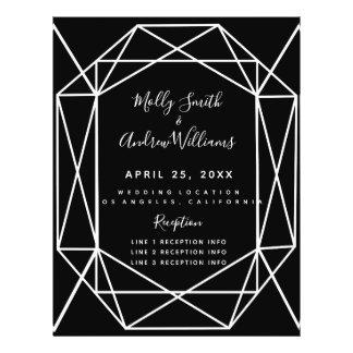 Prospectus 21,6 Cm X 24,94 Cm PROGRAMME en cristal noir géométrique de mariage