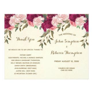 Prospectus 21,6 Cm X 24,94 Cm programme floral rose de cérémonie de mariage de