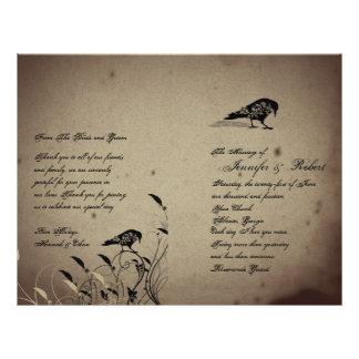 Prospectus 21,6 Cm X 24,94 Cm Programme gothique vintage de mariage de Chambre