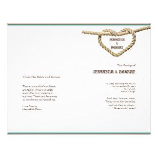 Prospectus 21,6 Cm X 24,94 Cm Programme occidental de mariage de noeud d'amour
