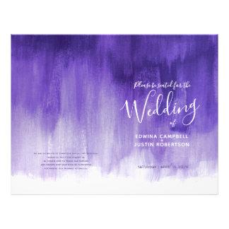 Prospectus 21,6 Cm X 24,94 Cm Programme pourpre ultra-violet de mariage d'art