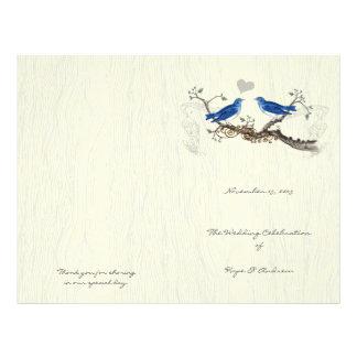 Prospectus 21,6 Cm X 24,94 Cm Programme vintage de fibre de bois d'oiseaux bleus