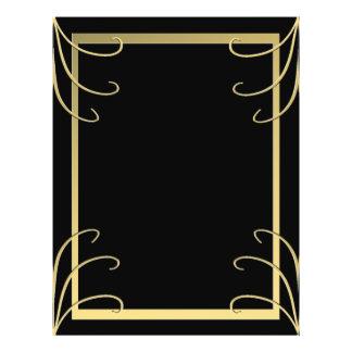 Prospectus 21,6 Cm X 24,94 Cm Remous élégant de noir et d'or