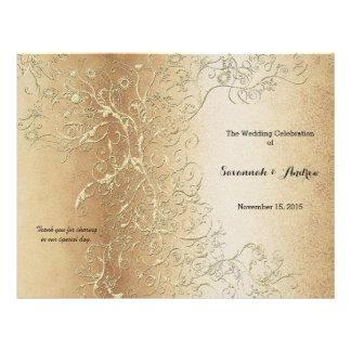 Prospectus 21,6 Cm X 24,94 Cm Remous élégant d'or avec le programme noir de